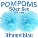 Pompoms, Himmelblau, 25 cm, 50er Set
