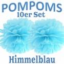 Pompoms, Himmelblau, 35 cm, 10er Set