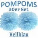 Pompoms, Hellblau, 35 cm, 50er Set