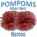 Pompoms, Maroon, 35 cm, 10er Set