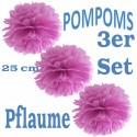 Pompoms, Pflaume, 25 cm, 3er Set
