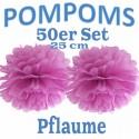 Pompoms, Pflaume, 25 cm, 50er Set
