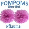 Pompoms, Pflaume, 35 cm, 10er Set