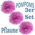 Pompoms, Pflaume, 35 cm, 3er Set