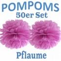 Pompoms, Pflaume, 35 cm, 50er Set