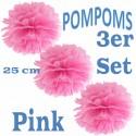 Pompoms, Pink, 25 cm, 3er Set