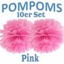 Pompoms, Pink, 35 cm, 10er Set