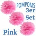 Pompoms, Pink, 35 cm, 3er Set