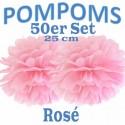 Pompoms, Rosé, 25 cm, 50er Set