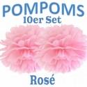Pompoms, Rosé, 35 cm, 10er Set