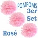 Pompoms, Rosé, 35 cm, 3er Set