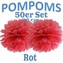 Pompoms, Rot, 25 cm, 50er Set