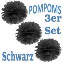Pompoms, Schwarz, 35 cm, 3er Set
