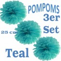 Pompoms, Teal, 25 cm, 3er Set
