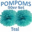 Pompoms, Teal, 35 cm, 50er Set