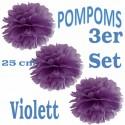 Pompoms, Violett, 25 cm, 3er Set