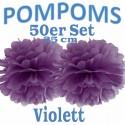 Pompoms, Violett, 25 cm, 50er Set
