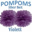 Pompoms, Violett, 35 cm, 10er Set
