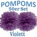Pompoms, Violett, 35 cm, 50er Set
