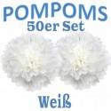 Pompoms, Weiß, 35 cm, 50er Set