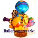 Luftballon Winnie Puuh, Tigger und Ferkel im Fesselballon, Folienballon mit Ballongas