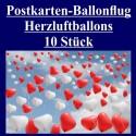 Ballonflugkarten zur Hochzeit, 10 Postkarten, Herzluftballons steigen auf