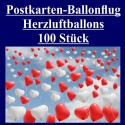 Ballonflugkarten zur Hochzeit, 100 Postkarten, Herzluftballons steigen auf