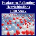Ballonflugkarten zur Hochzeit, 1000 Postkarten, Herzluftballons steigen auf