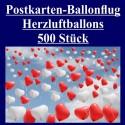 Ballonflugkarten zur Hochzeit, 500 Postkarten, Herzluftballons steigen auf