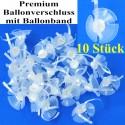 Premium Ballonverschluss mit Ballonband - 10 Stück, für Luftballons von 25 cm bis 40 cm