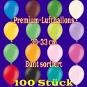 Luftballons, Latex 30cm Ø, 100 Stück / Bunt