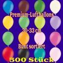 Luftballons, Latex 30cm Ø, 500 Stück / Bunt