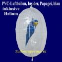 PVC-Folien-Luftballon, Insider, Papagei, blau, inklusive Ballongas