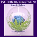 PVC-Folien-Luftballon, Insider, Fisch, leuchtend, inklusive Ballongas