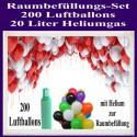 200 bunte Luftballons mit Helium zur Raumbefüllung