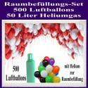500 bunte Luftballons mit Helium zur Raumbefüllung
