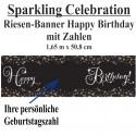 Sparkling Celebration Riesen-Geburtstagsbanner, Happy Birthday mit Zahlen zur individuellen Anpassung