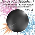 Gender Reveal Riesen Konfetti-Ballon, Latex 100 cm Ø, 1 Stück, schwarz, gefüllt mit Konfetti in Rosa oder Hellblau