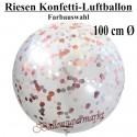 Riesen Konfetti-Ballons, Latex 100 cm Ø, 1 Stück, Transparent, gefüllt mit Konfetti, Farbauswahl