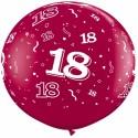Riesenluftballon Zahl 18, pink, 90 cm