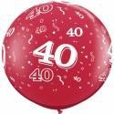 Riesenluftballon Zahl 40, pink, 90 cm