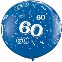 Riesenluftballon Zahl 60, blau, 90 cm