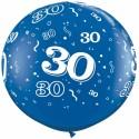 Riesenluftballon Zahl 30, blau, 90 cm