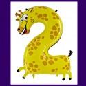 Riesenzahl-Luftballon aus Folie, Zahl 2, Giraffe, zum 2. Kindergeburtstag, ohne Helium