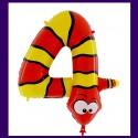 Riesenzahl-Luftballon aus Folie mit Helium, Zahl 4, Schlange, zum 4. Kindergeburtstag