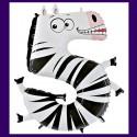 Riesenzahl-Luftballon aus Folie, Zahl 5, Zebra, zum 5. Kindergeburtstag, ohne Helium