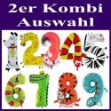 Riesenzahlen-Luftballons Tiere aus Folie mit Helium, 2er Zahlenkombination-Auswahl, zum Kindergeburtstag