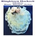 Ringkissen Hochzeit, Elfenbein mit Rosen, Rüschen, Perlen, aufklappbar