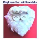 Ringkissen Hochzeit, Weiß mit Rosen, aufklappbar