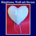 Ringkissen Hochzeit, Weiß mit Herzen
